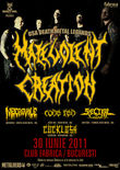 Afis Concert Malevolent Creation in Club Fabrica din Bucuresti