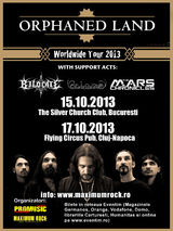 Concert Orphaned Land la Bucuresti, in Silver Church Club, pe 15 Octombrie